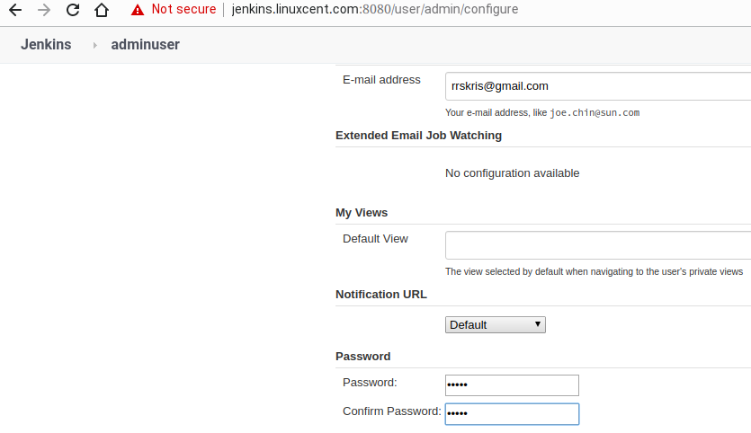 Changing admin password in Jenkins